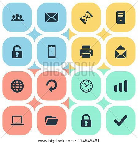 Set Of 16 Simple Apps Icons. Can Be Found Such Elements As Sand Timer, Notebook, Statistics.