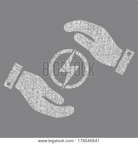 Electric Energy Insurance Hands vector textured icon for overlay watermark stamps. Fabric white vectorized texture. Symbol with dust design. Rubber seal stamp with fiber textile structure.
