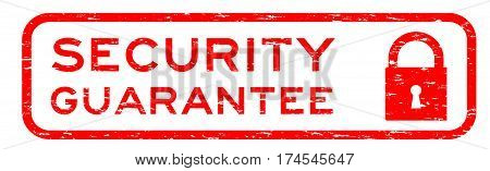 Grunge red security assurance with lock icon square rubber seal stamp