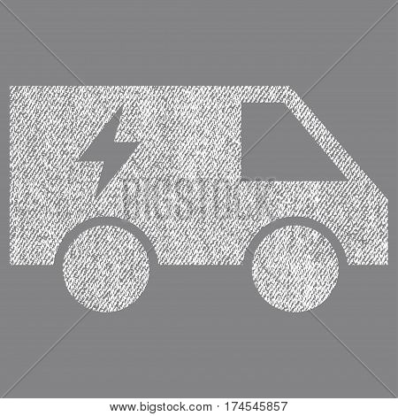 Electric Power Car vector textured icon for overlay watermark stamps. Fabric white vectorized texture. Symbol with dirty design. Rubber seal stamp with fiber textile structure.