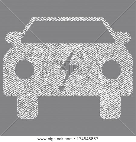 Electric Power Car vector textured icon for overlay watermark stamps. Fabric white vectorized texture. Symbol with dust design. Rubber seal stamp with fiber textile structure.