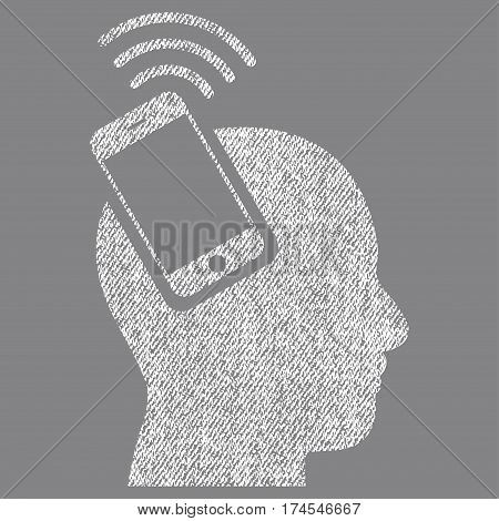 Head Smartphone Plugin Ring vector textured icon for overlay watermark stamps. Fabric white vectorized texture. Symbol with dirty design. Rubber seal stamp with fiber textile structure.