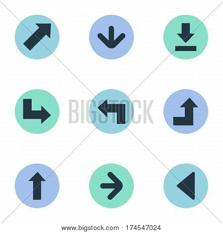 Set Of 9 Simple Indicator Icons. Can Be Found Such Elements As Pointer, Pointer, Increasing And Other.