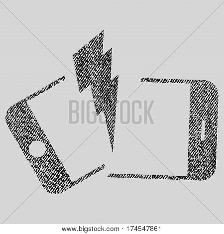 Broken Smartphone vector textured icon for overlay watermark stamps. Fabric black vectorized texture. Symbol with scratched design. Rubber seal stamp with fiber textile structure.