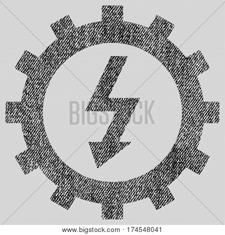 Electric Energy Cog Wheel vector textured icon for overlay watermark stamps. Fabric black vectorized texture. Symbol with dirty design. Rubber seal stamp with fiber textile structure.