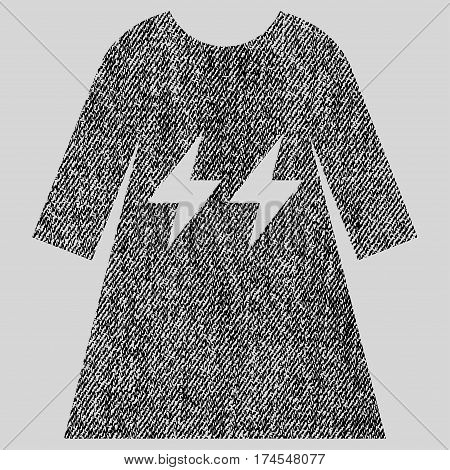Electric Energy Girl Dress vector textured icon for overlay watermark stamps. Fabric black vectorized texture. Symbol with scratched design. Rubber seal stamp with fiber textile structure.