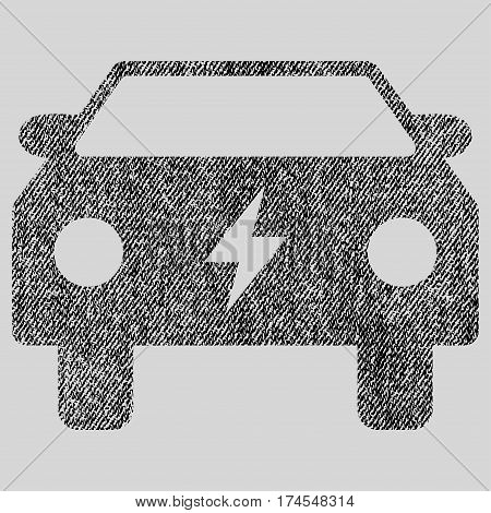 Electric Power Car vector textured icon for overlay watermark stamps. Fabric black vectorized texture. Symbol with dirty design. Rubber seal stamp with fiber textile structure.