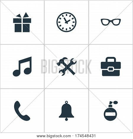 Set Of 9 Simple Accessories Icons. Can Be Found Such Elements As Call Button, Business Bag, Fragrance And Other.