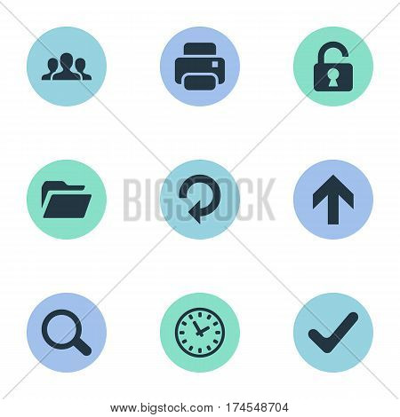 Set Of 9 Simple Apps Icons. Can Be Found Such Elements As Dossier, Community, Printout And Other.