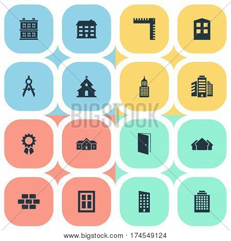 Set Of 16 Simple Construction Icons. Can Be Found Such Elements As Offices, Block, Length And Other.