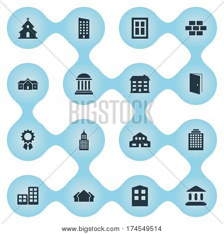 Set Of 16 Simple Architecture Icons. Can Be Found Such Elements As Residential, Floor, Stone And Other.