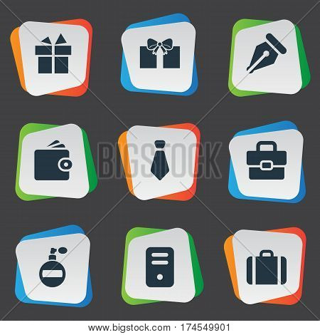 Set Of 9 Simple  Icons. Can Be Found Such Elements As Business Bag, Briefcase, Billfold And Other.