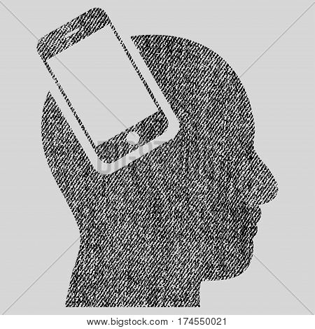 Smartphone Head Integration vector textured icon for overlay watermark stamps. Fabric black vectorized texture. Symbol with scratched design. Rubber seal stamp with fiber textile structure.