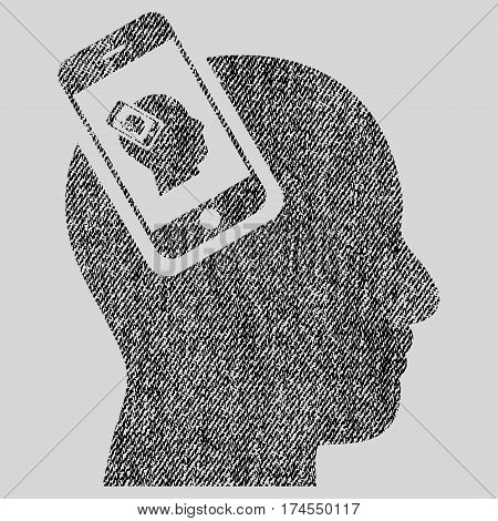 Smartphone Head Plugin Recursion vector textured icon for overlay watermark stamps. Fabric black vectorized texture. Symbol with unclean design. Rubber seal stamp with fiber textile structure.