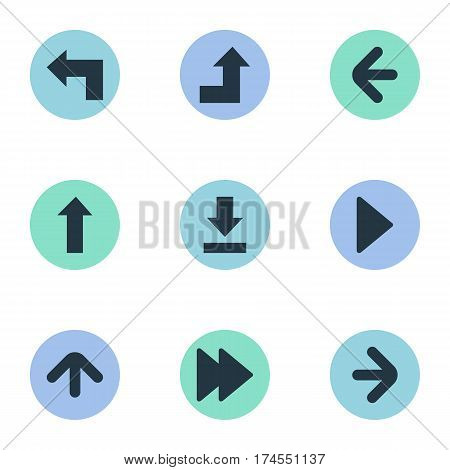 Set Of 9 Simple Pointer Icons. Can Be Found Such Elements As Upward Direction , Advanced, Right Landmark.