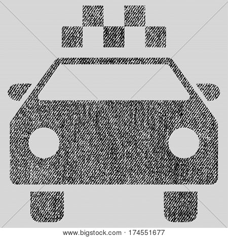 Taxi Automobile vector textured icon for overlay watermark stamps. Fabric black vectorized texture. Symbol with dust design. Rubber seal stamp with fiber textile structure.
