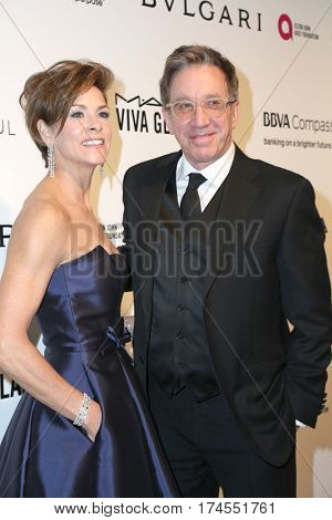 LOS ANGELES - FEB 26:  Jane Allen, Tim Allen at the 25the Annual Elton John Academy Awards Viewing Party at the  City of West Hollywood Park on February 26, 2017 in West Hollywood, CA