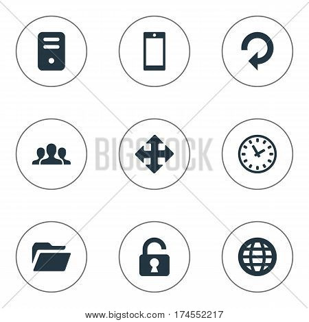 Set Of 9 Simple Practice Icons. Can Be Found Such Elements As Web, Smartphone, Open Padlock And Other.