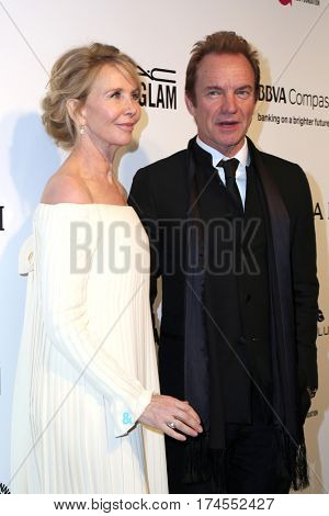 LOS ANGELES - FEB 26:  Trudie Styler, Sting, aka Gordon Matthew Thomas Sumner at the 25th Elton John Oscar Viewing Party at the  City of West Hollywood Park on February 26, 2017 in West Hollywood, CA