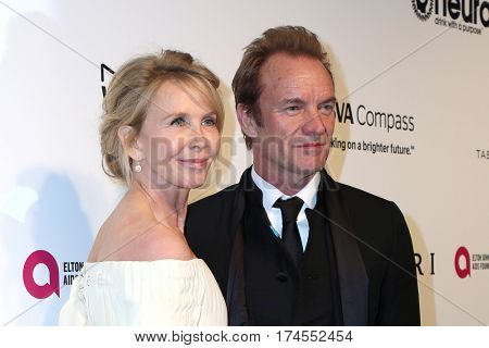 LOS ANGELES - FEB 26:  Trudie Styler, Sting at the 25th Elton John Academy Awards Viewing Party at the  City of West Hollywood Park on February 26, 2017 in West Hollywood, CA