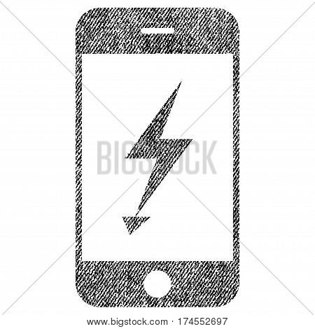 Electric Mobile Phone vector textured icon for overlay watermark stamps. Fabric black vectorized texture. Symbol with unclean design. Rubber seal stamp with fiber textile structure.