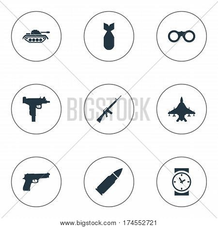 Set Of 9 Simple Army Icons. Can Be Found Such Elements As Rifle Gun, Sky Force, Nuke And Other.