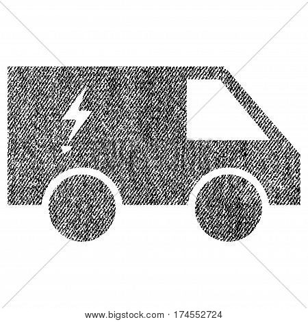 Electric Power Car vector textured icon for overlay watermark stamps. Fabric black vectorized texture. Symbol with unclean design. Rubber seal stamp with fiber textile structure.