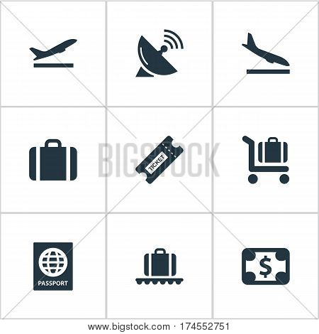 Set Of 9 Simple Travel Icons. Can Be Found Such Elements As Coupon, Takeoff, Currency And Other.