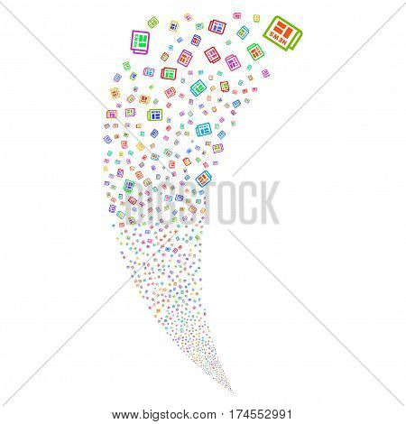 Newspaper random fireworks stream. Vector illustration style is flat bright multicolored iconic symbols on a white background. Object fountain created from scattered pictographs.