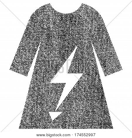 Electric Power Lady Dress vector textured icon for overlay watermark stamps. Fabric black vectorized texture. Symbol with scratched design. Rubber seal stamp with fiber textile structure.