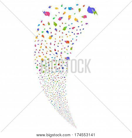 Person Stress Strike random fireworks stream. Vector illustration style is flat bright multicolored iconic symbols on a white background. Object fountain created from scattered icons.