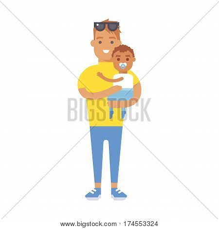 Family people adult happiness smiling father with baby togetherness parenting concept and casual parent, cheerful, lifestyle happy character vector illustration. Healthy joyful young human generation.