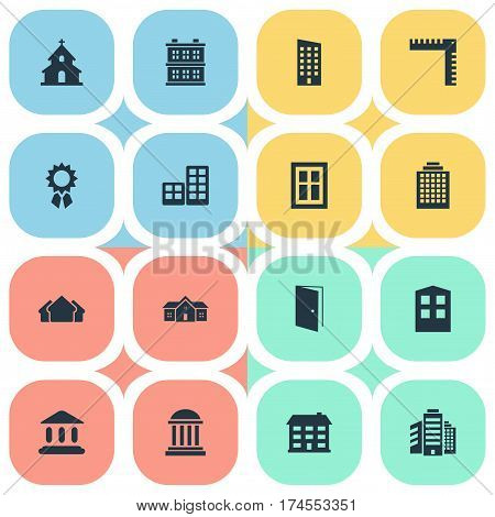 Set Of 16 Simple Structure Icons. Can Be Found Such Elements As Offices, Superstructure, Residence And Other.