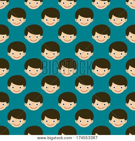 Boy face portrait fun happy young expression cute teenager cartoon character and happyness little kid flat seamless pattern joy casual childhood life vector illustration. Adorable preschooler male.