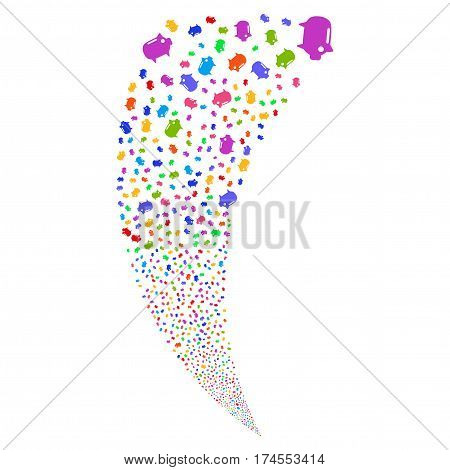 Piggy Bank random fireworks stream. Vector illustration style is flat bright multicolored iconic symbols on a white background. Object fountain done from scattered symbols.