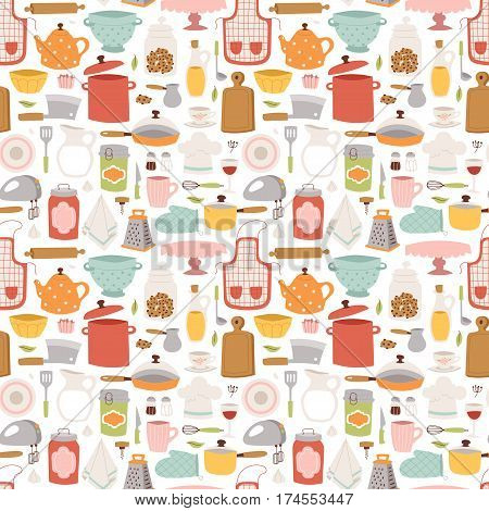 Kitchen con hand drawn accessory patches set. Restaurant modern knife cooking kitchen icons. Household utensil teapot and kettle tools. Workwear for cooking or food preparation seamless pattern