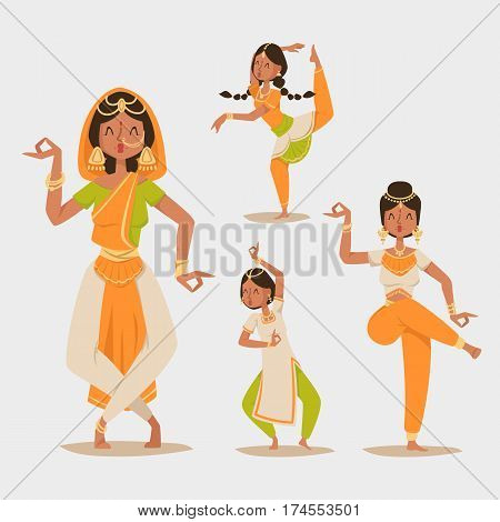 Indian women and man dancing vector isolated. Indian dancers vector silhouette. Indian cartoon dancers diferrent pose icons. Indian people dancing India, dance, show, party, movie, cinema, cartoon