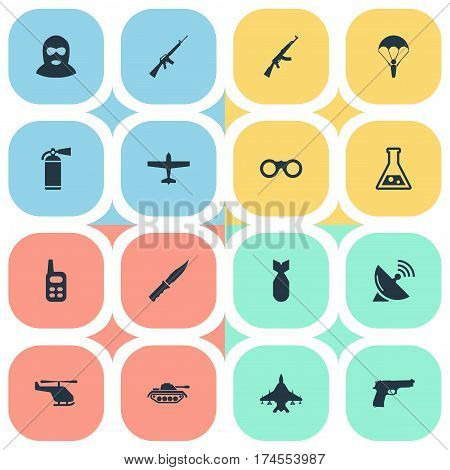 Set Of 16 Simple Military Icons. Can Be Found Such Elements As Helicopter, Pistol, Nuke And Other.