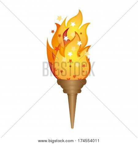olympic torch with yellow flame vector illustration