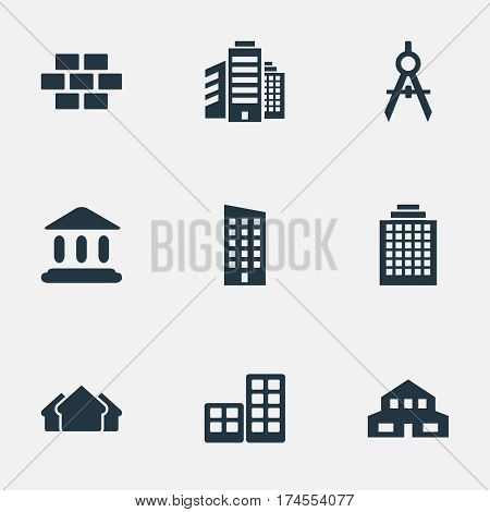 Set Of 9 Simple Construction Icons. Can Be Found Such Elements As Offices, Stone, Floor And Other.
