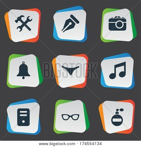 Set Of 9 Simple Instrument Icons. Can Be Found Such Elements As System Unit, Ink Pencil, Ring And Other.