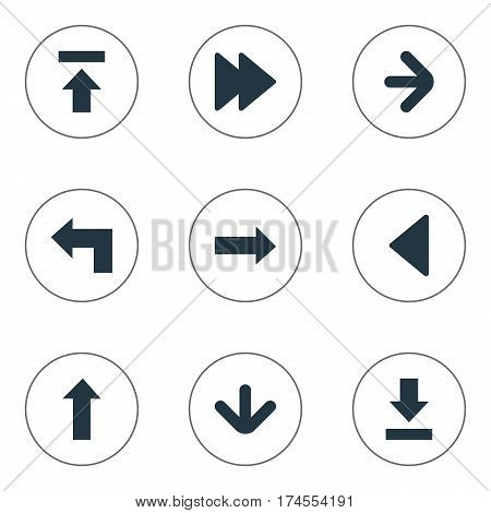 Set Of 9 Simple Pointer Icons. Can Be Found Such Elements As Pointer, Transfer, Upward Direction And Other.