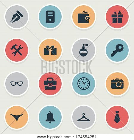 Set Of 16 Simple Instrument Icons. Can Be Found Such Elements As Fragrance, Password, Ink Pencil And Other.