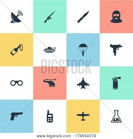 Set Of 16 Simple Army Icons. Can Be Found Such Elements As Rifle Gun, Field Glasses, Terrorist And Other.