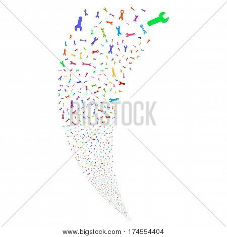 Spanners And Wrenches random fireworks stream. Vector illustration style is flat bright multicolored iconic symbols on a white background. Object fountain done from scattered pictograms.