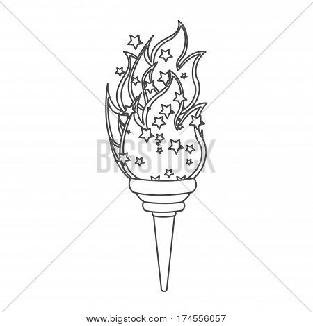 grayscale contour with olympic torch flame vector illustration