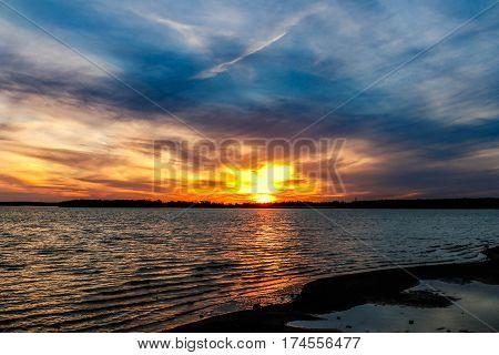 A Beautiful sunset over an Oklahoma lake.