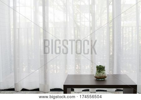 office desk with garden plant on glass vase on white drape background texture at living room front view on table.