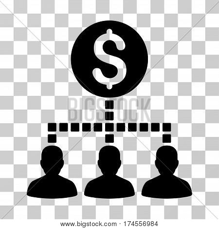 Money Recipients icon. Vector illustration style is flat iconic symbol, black color, transparent background. Designed for web and software interfaces.