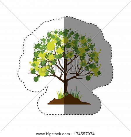 sticker colorful silhouette with leafy tree vector illustration